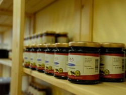 Photo - jars of Rowanberry jelly waiting to go to the retailers; image by Jake Paul, with thanks to Gillies Fine Foods