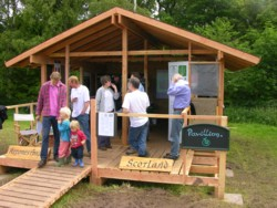 Reforesting Scotland in the newly-finished structure at Big Tent 2007