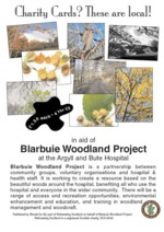 Poster showing the Blarbuie Woodland Project greeting cards